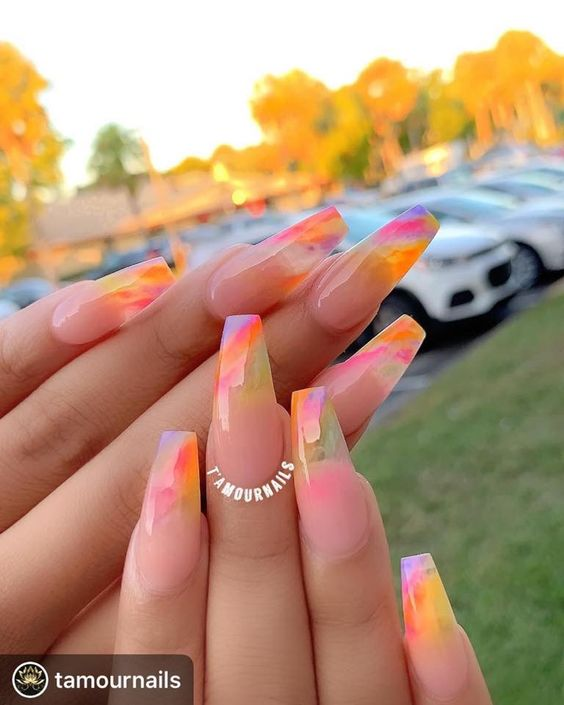 Prepare 30 Bright Acrylic Coffin Nails For You In Summer